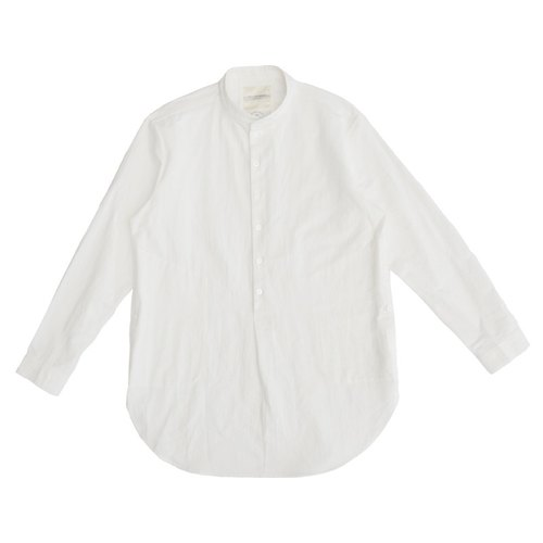 chino collar stand-long white shirt