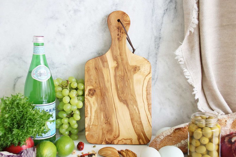 Olive wood Custom Rectangular Handle Cutting Board - 35cm  Tray/ Red Wine/ Bread