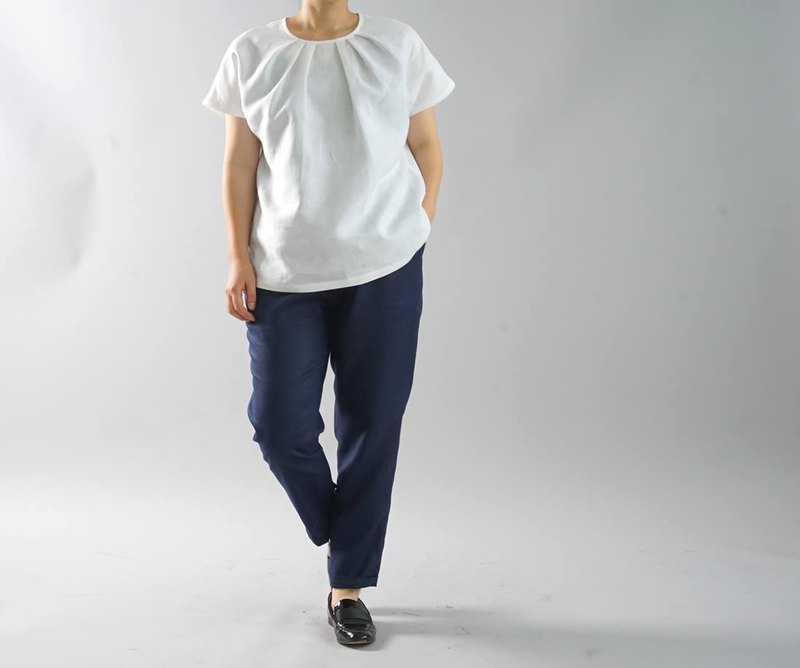 wafu   linen blouse / tunic / short sleeve / tuck design / white / t26-5