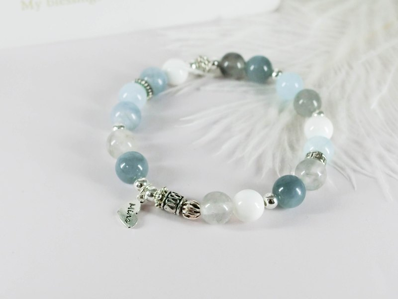 Sea blue memory natural stone beaded silver bracelet │ blue white 玥 unicorn