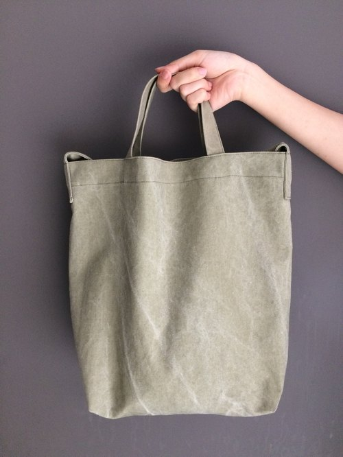 Summer green land 2way grass green washed canvas bag
