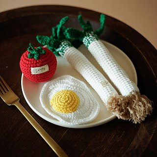 Hand-knitted cotton poached egg