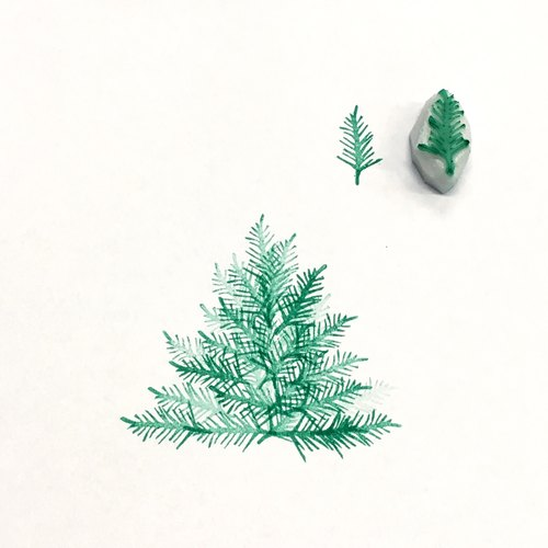 Christmas trees hand carved rubber stamp