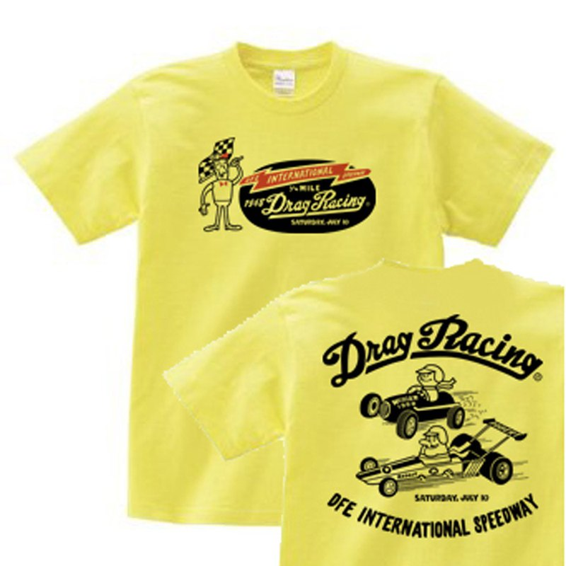 Drag • Race 1/4 mile American retro two-sided 150.160. S-XL T-shirt 【Custom order】