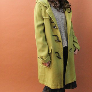 Retro autumn and winter loose hooded grass green apple green vintage horn buckle coat jacket Vintage Outer