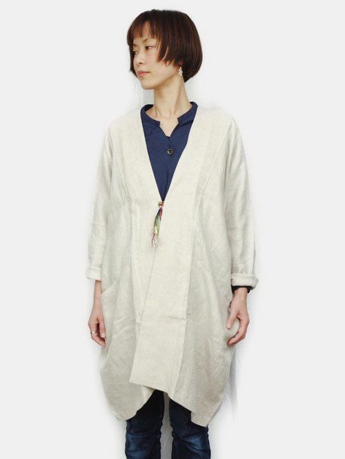 Omake / HAPPIE jacket Linen Wide Cover Plain White