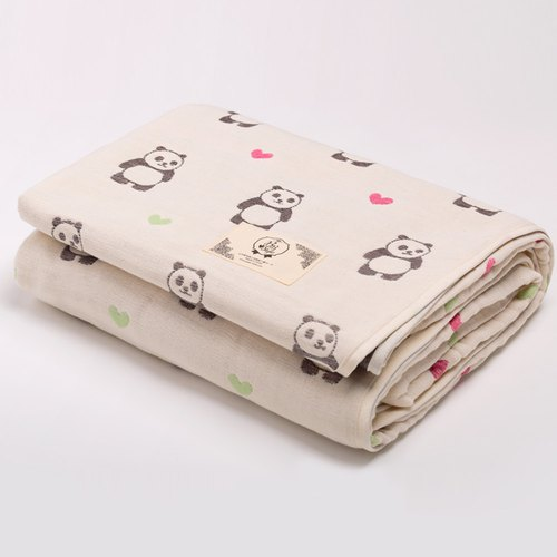 [Made in Japan Sanhe Cotton] Six Gauze Cloths - Turning Head Love Panda L