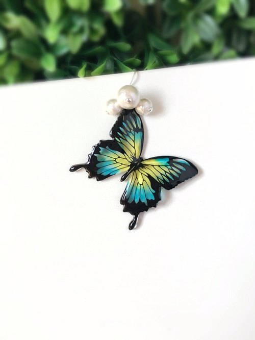Hand painted Blue Yellow Swallowtail Butterfly Cotton Bead 925 sterling silver earrings