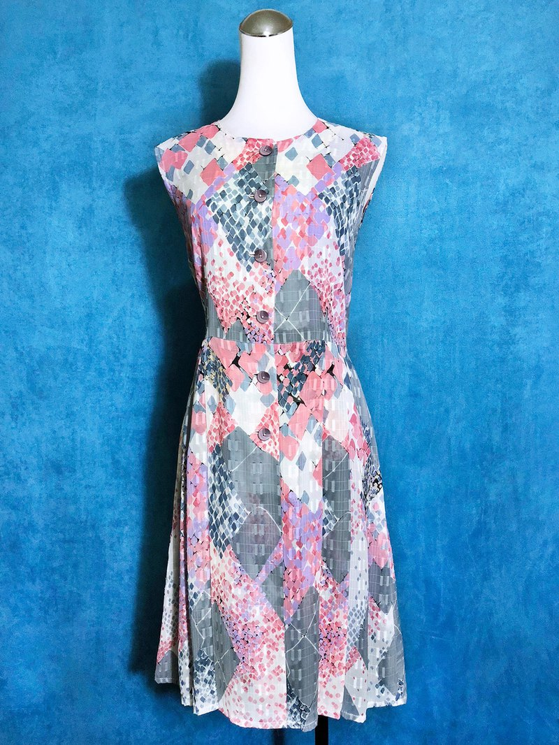 Diamond totem weaved sleeveless vintage dress / bring back VINTAGE