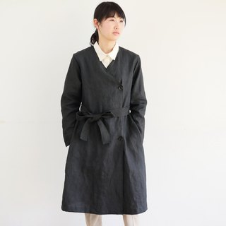 Ethical Hemp Sash Belt Coat Ebony Dyed Black Size S