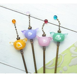 Bird's kanzashi (Glass beads hair sticks)