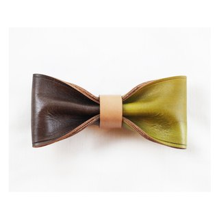 Clip on vegetable tanned leather bow tie - Lemon / Dark brown color
