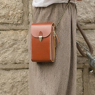 [tangent pie] large-capacity mobile phone bag money handmade leather bag ladies shoulder bag