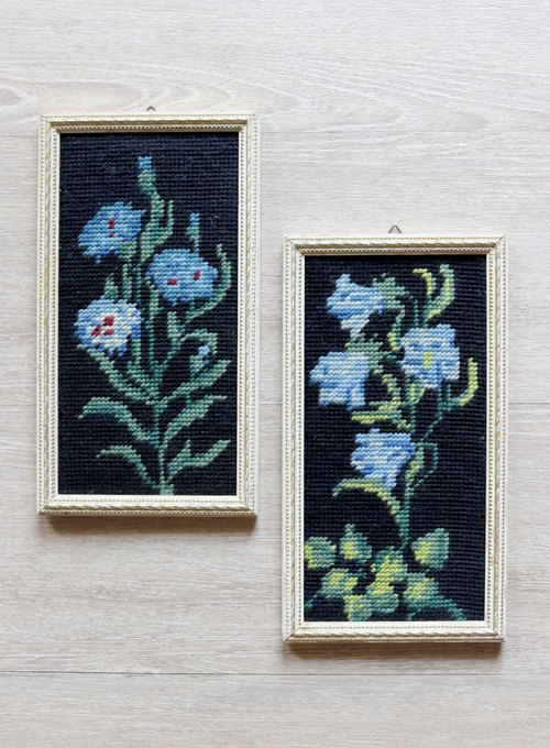 Finnish blue flower classical frame cross stitch painting two groups