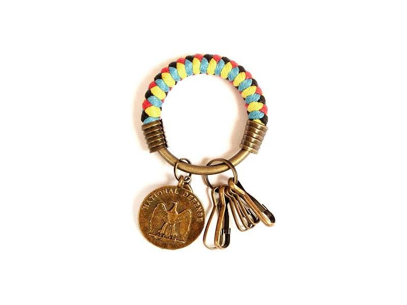 [Na UNA- excellent hand-made] key ring (small) 5.3CM bright red + yellow + black + light blue + eagle insignia hand-woven wax rope hoop customization