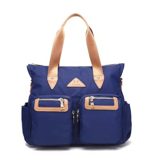 Lightweight large capacity water repellent handbag / Crossbody / storage bag / Blue # 1012