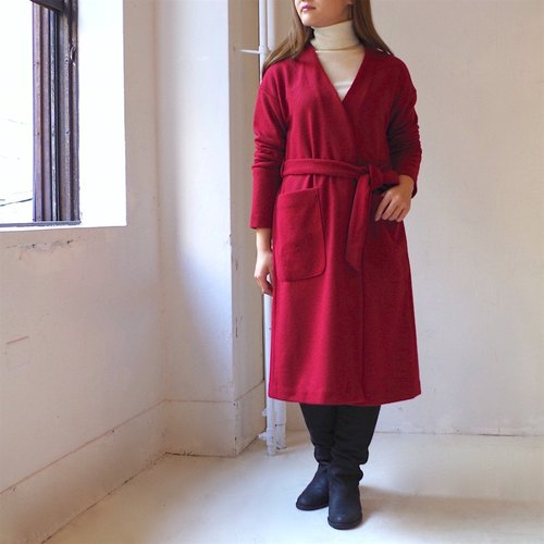 [Made in Japan] Mini Bouquet Long Cardigan - red