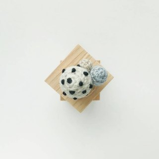 White with Black Polka Dots Crochet Button Cover