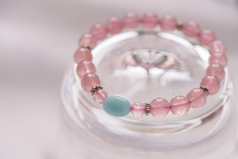 【Woody'sHandmade】幸福。草莓晶天河石單層手串。Happiness -- Strawberry quartz with Amazonite