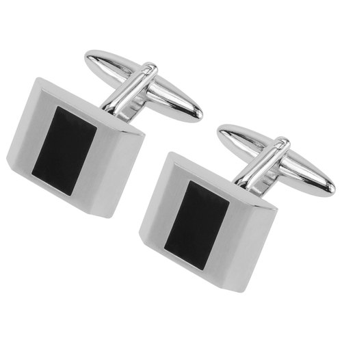 Silver Transparent Black Enamel Cufflinks