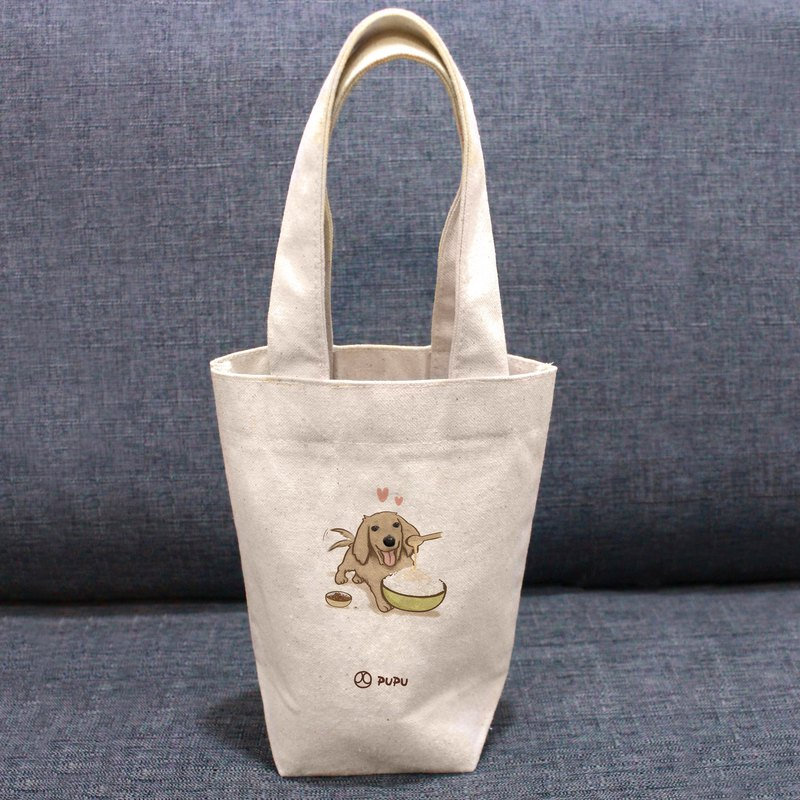 Sausage - has food - Taiwan made cotton linen - Wenchuang Shiba Inu - environmental protection - beverage bag - fly planet