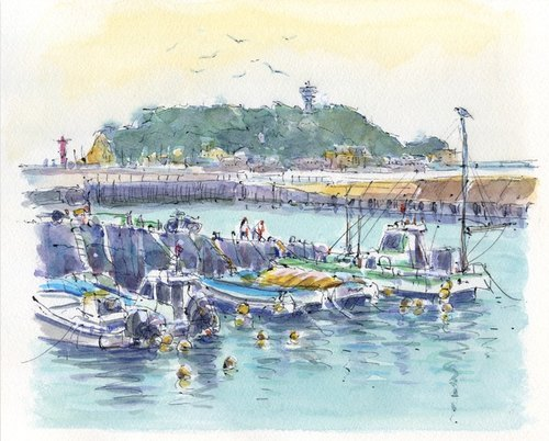Watercolor painting Kamakura honey-over fishing port 16