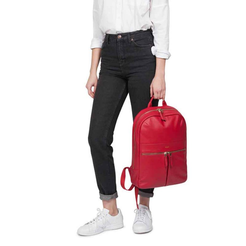 Beaux 14吋 leather back pack (Chilli red)