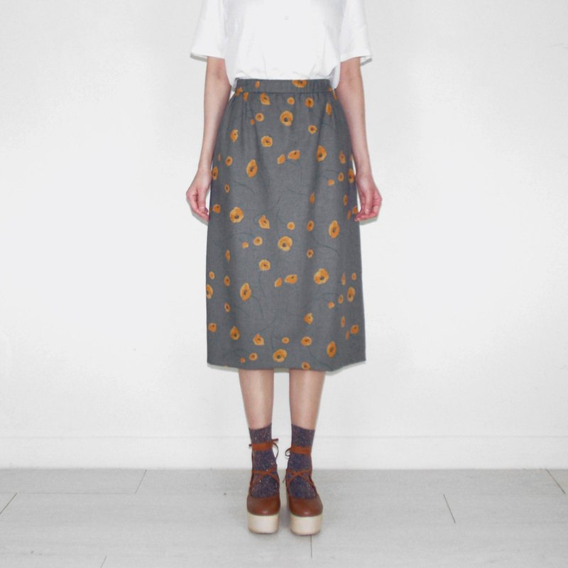 Grey retro small yellow flower ancient high waist knee skirt BH2004