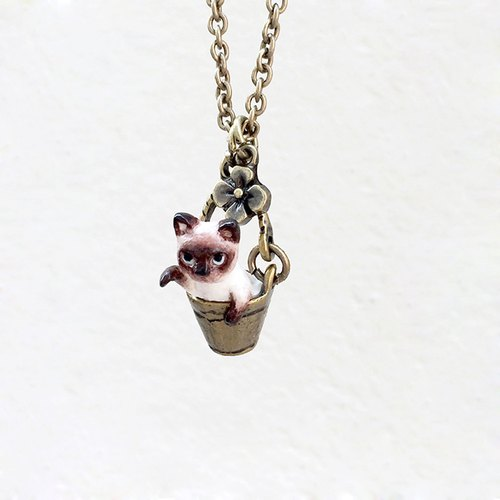 Tiny Siamese Cat in the bucket necklace, Cat Pendant, miniature cat