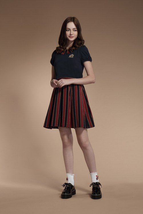 Fake two school striped dresses