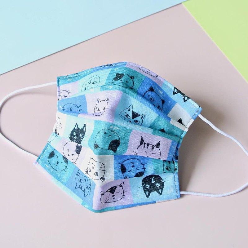 猫柄 藍色 手工立體口罩 可洗滌 日本製純棉二重紗布 成人