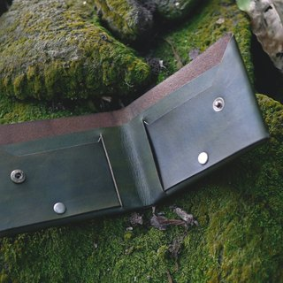 [Span] tiaotiao sutureless short clip - forest green / Italian vegetable tanned leather / one piece / short clip / green / limited edition handmade
