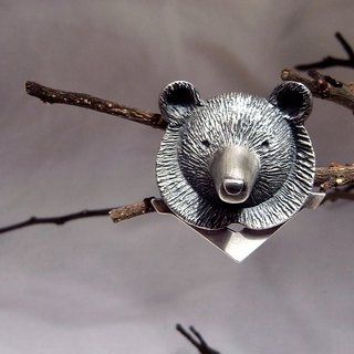 Formosan Black Bear With Forest--Sterling Silver--Pendant Necklace with Wax Rope