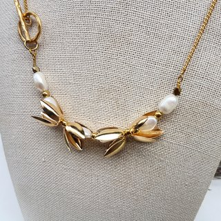 Summer limited natural pearl petal style bracelet necklace double