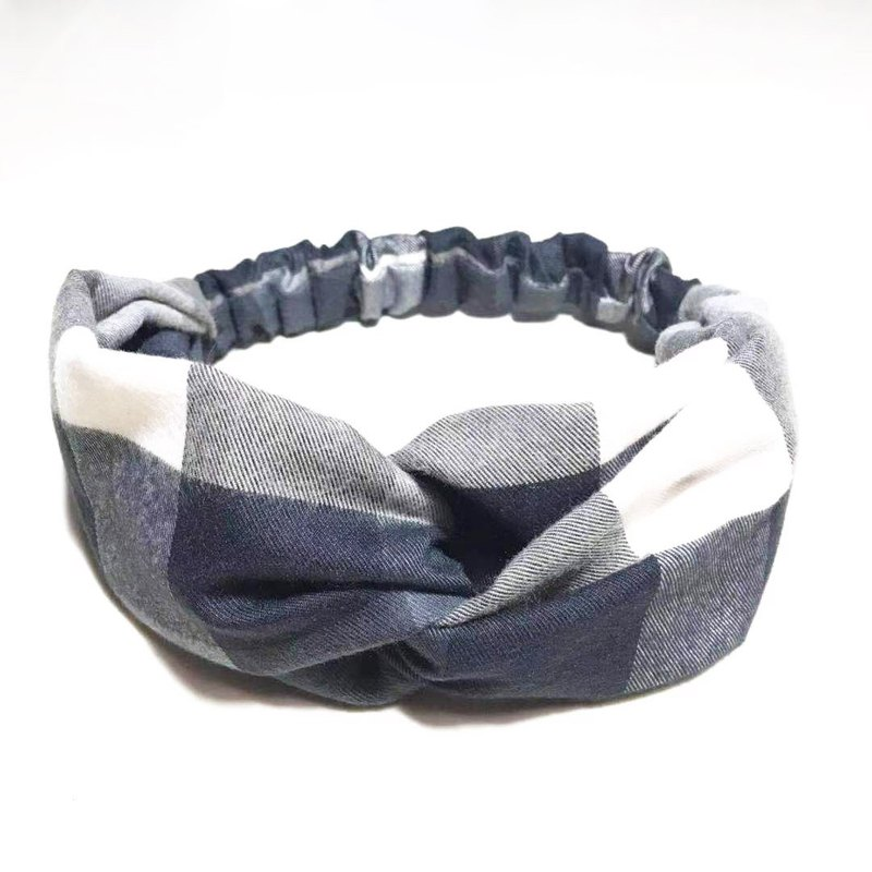 Black and white large plaid / handmade elastic hair band