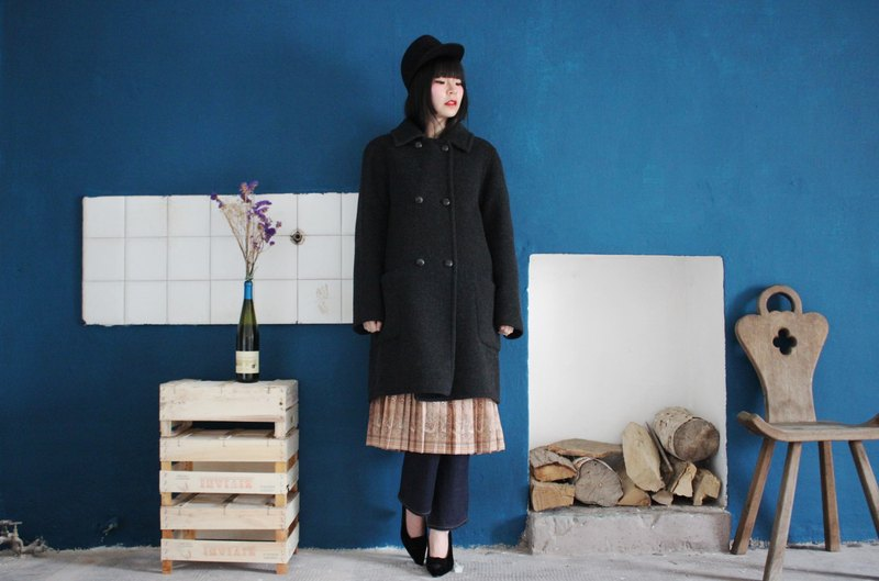 F3147 [Vintage Jacket] (Made in Italy) Dark Gray 100% Pure Wool Coat Two Pockets Ancient Jacket