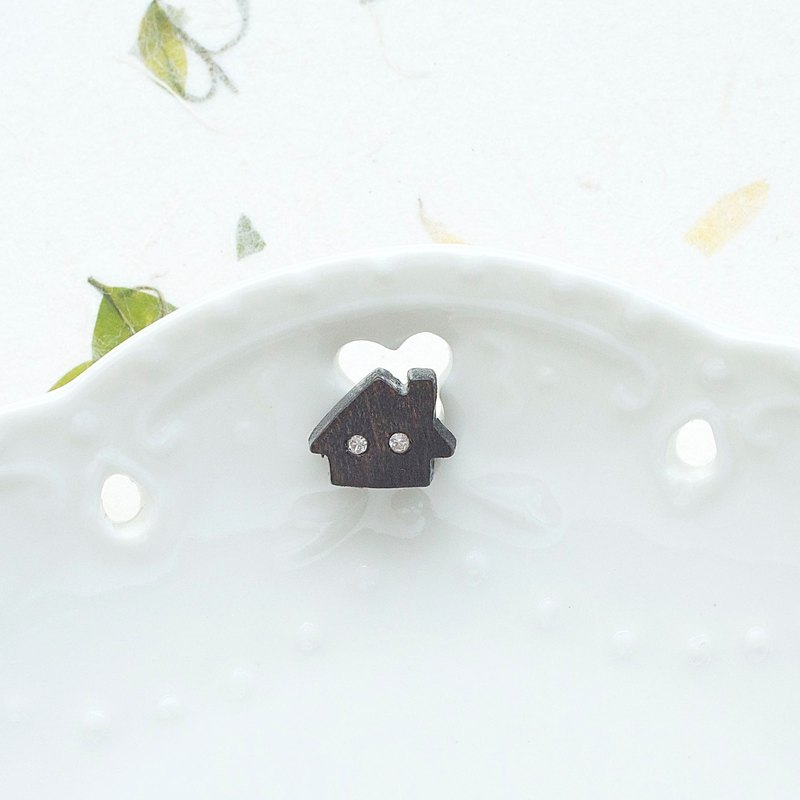 Dream house wooden earring ( 925 sterling silver studs) one per