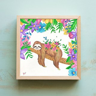 Original Painting // Sloth and Flowers // I made it