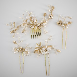 Set of 4 comb and pins bridal headpiece set freshwater pearls and crystals