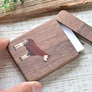 Wooden business card holder 【Okapi / Okapi】 Walnut