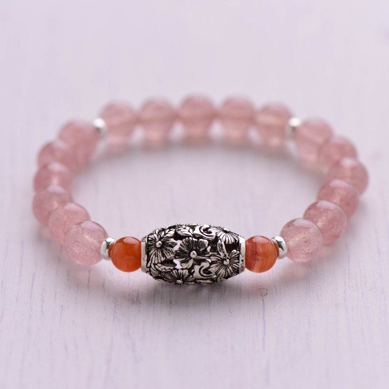 [Woody'sHandmade] The flower was in bloom. Strawberry Crystal Single Bracelet. 925 silver.