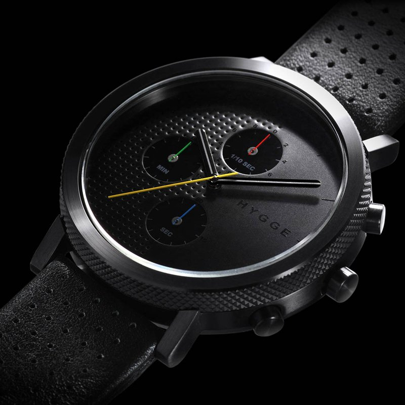 Japan HYGGE fashion function leather metal watch stainless steel black and black belt Made in Japan