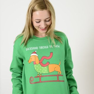 Daschund Through The Snow - Ugly Christmas Sweater Crewneck - Holiday Sweater