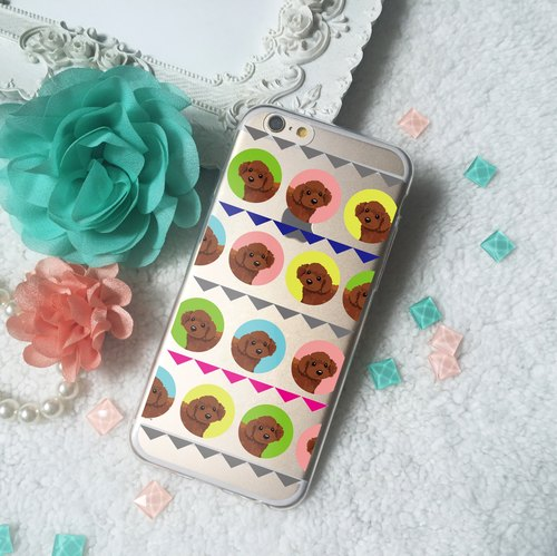 Brown Poodle Geometry Clear TPU Silicone iphone x 8 8plus 7 6 Samsung S9 S9+