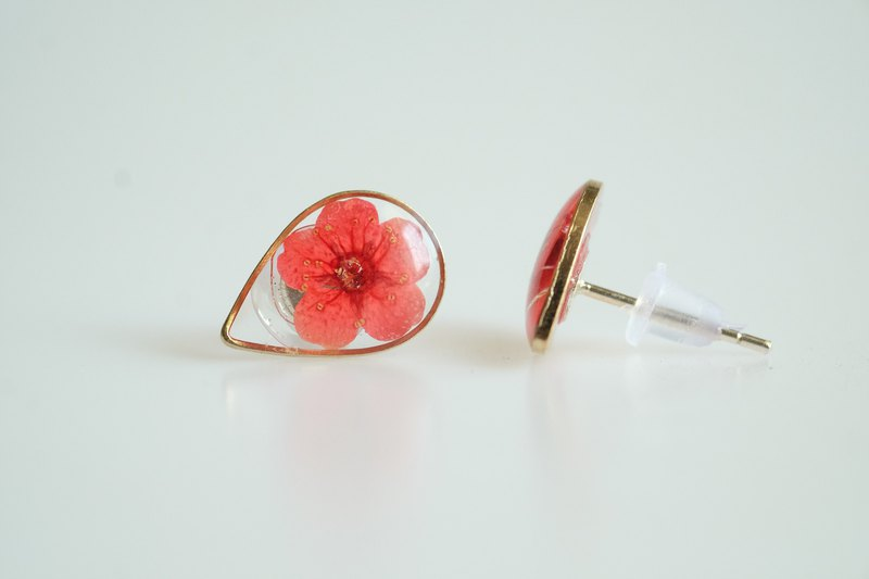 Earring plum flower droplet silver 92.5%
