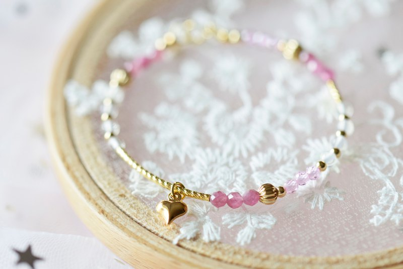 Bubble Gum。Rubellite Zircon Opalite Natural Stone 14K Gold Plated Bracelet