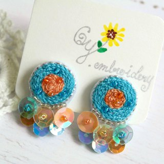 Qy.embroidery Candy Contrast Colorful Embroidered Handmade Ear Stud Ear Clips Round Bright Blue & Orange