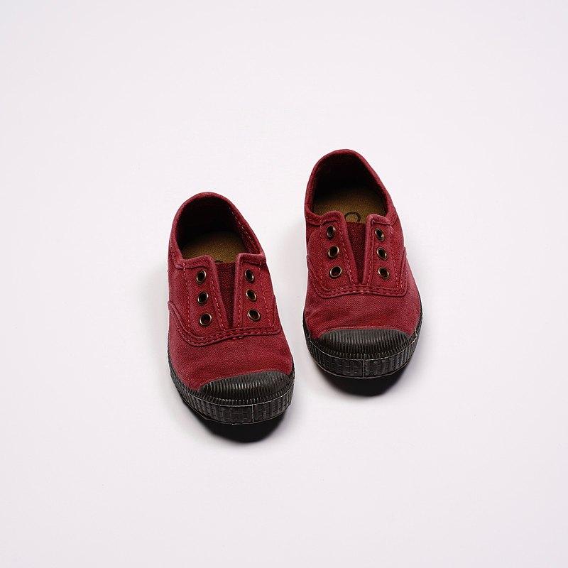 西班牙國民帆布鞋 CIENTA U70777 82 暗紅色 黑底 洗舊布料 童鞋