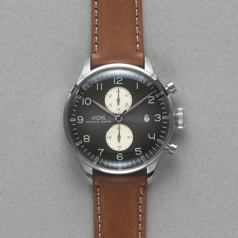Gray-black CH-41 Corona Chronograph Watch | BUTTERO Belt or Strip