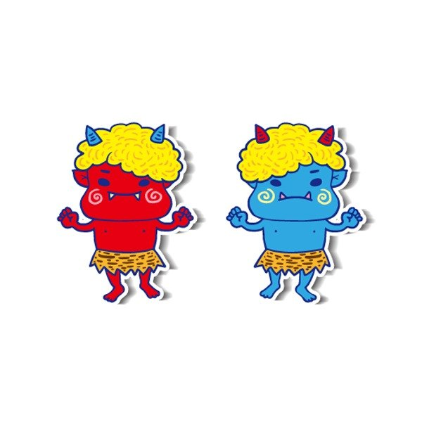 1212 funny design funny everywhere posted waterproof stickers - red ghost blue ghost